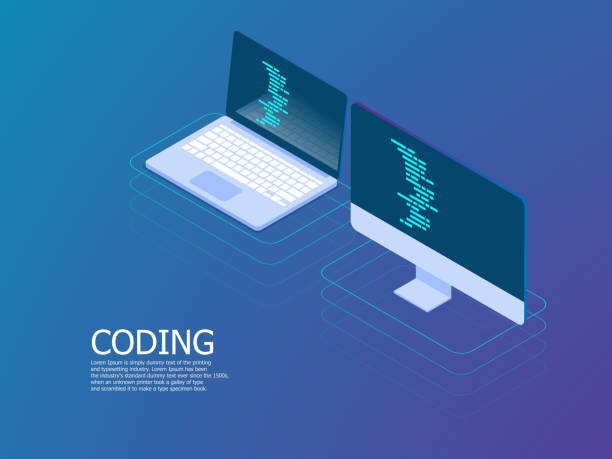coding with laptop vector isometric vector art illustration