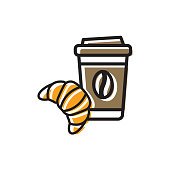 Coffee drink in paper cup with cap and fresh croissant. Colorful isolated vector icon in flat style with outline for your project
