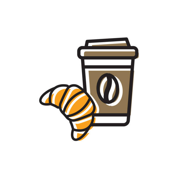 Cofee and croissant icon Coffee drink in paper cup with cap and fresh croissant. Colorful isolated vector icon in flat style with outline for your project pastry dough stock illustrations