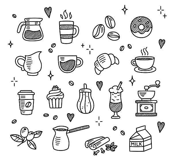 cofee kritzeleien - tassenkuchen stock-grafiken, -clipart, -cartoons und -symbole