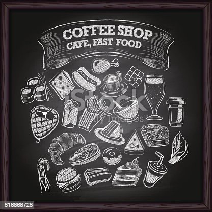 Coffe shop, cafe restaurant, and fast food icons set on backboard