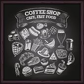 Coffe cafe and fast food icons on chalkboard