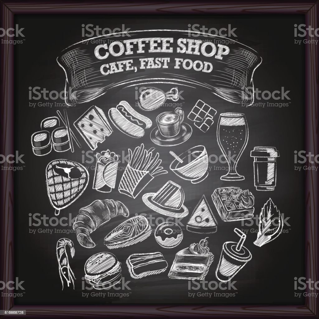黒板にコーヒーのカフェやファーストフードのアイコン ベクターアートイラスト
