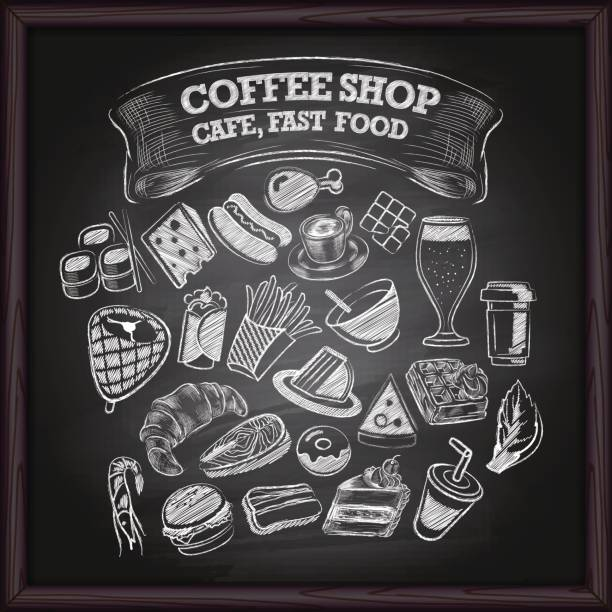 coffe cafe and fast food icons on chalkboard - food delivery stock illustrations