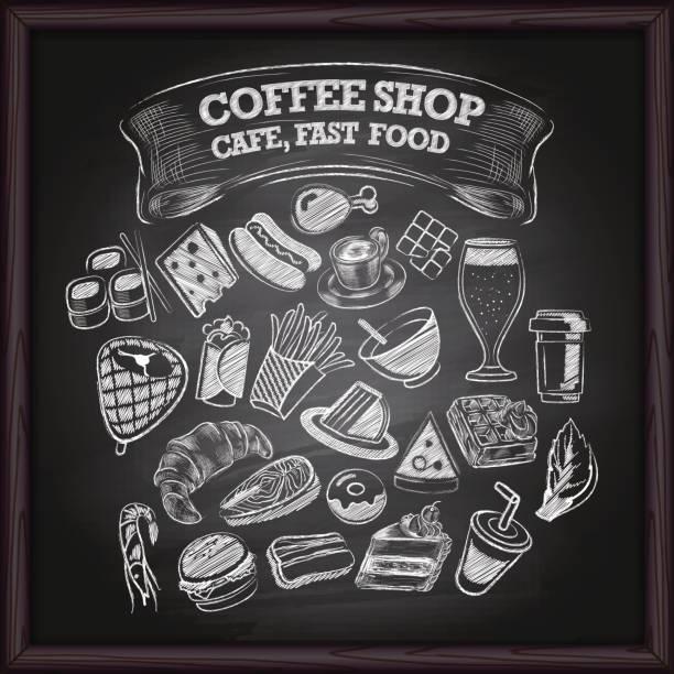 ilustraciones, imágenes clip art, dibujos animados e iconos de stock de café café y comida rápida iconos en pizarra - café bebida