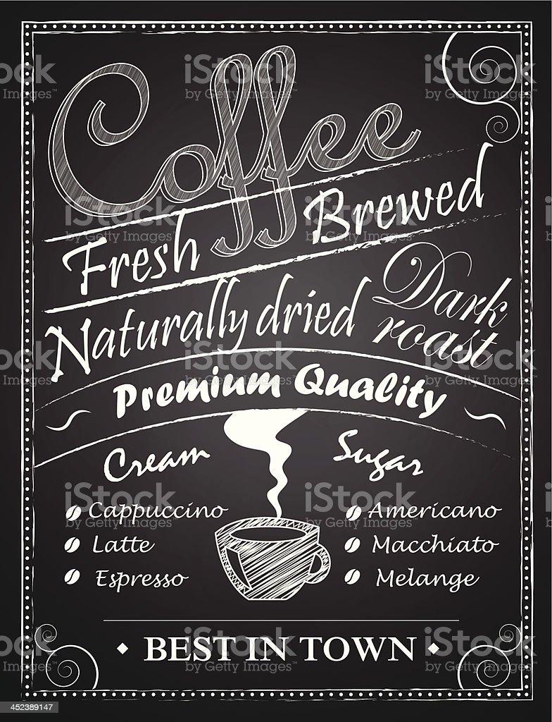 Coffe chalk drawing over blackboards vector art illustration