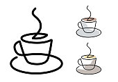 Coffe cup - continuous line vector.