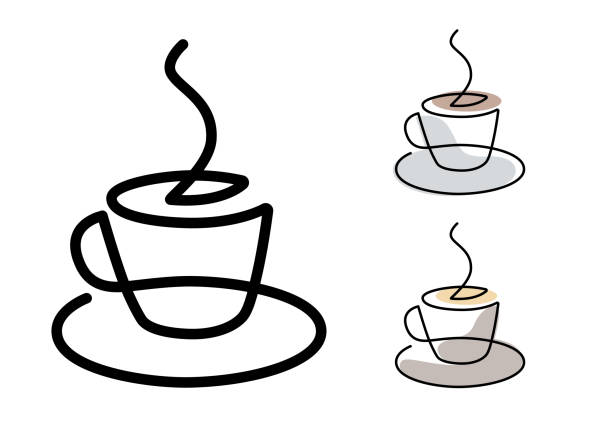 Coffe cup - continuous line Coffe cup - continuous line vector. cafe stock illustrations