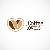 Coffe love sign. Two beans as a heart.