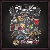 Coffe shop, cafe, and fast food on blackboard background.