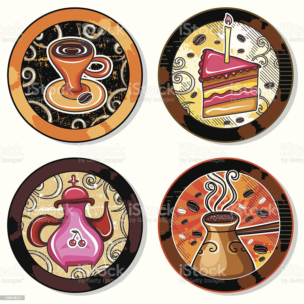 Coffe, tea  drink coasters 2 royalty-free coffe tea drink coasters 2 stock vector art & more images of backgrounds
