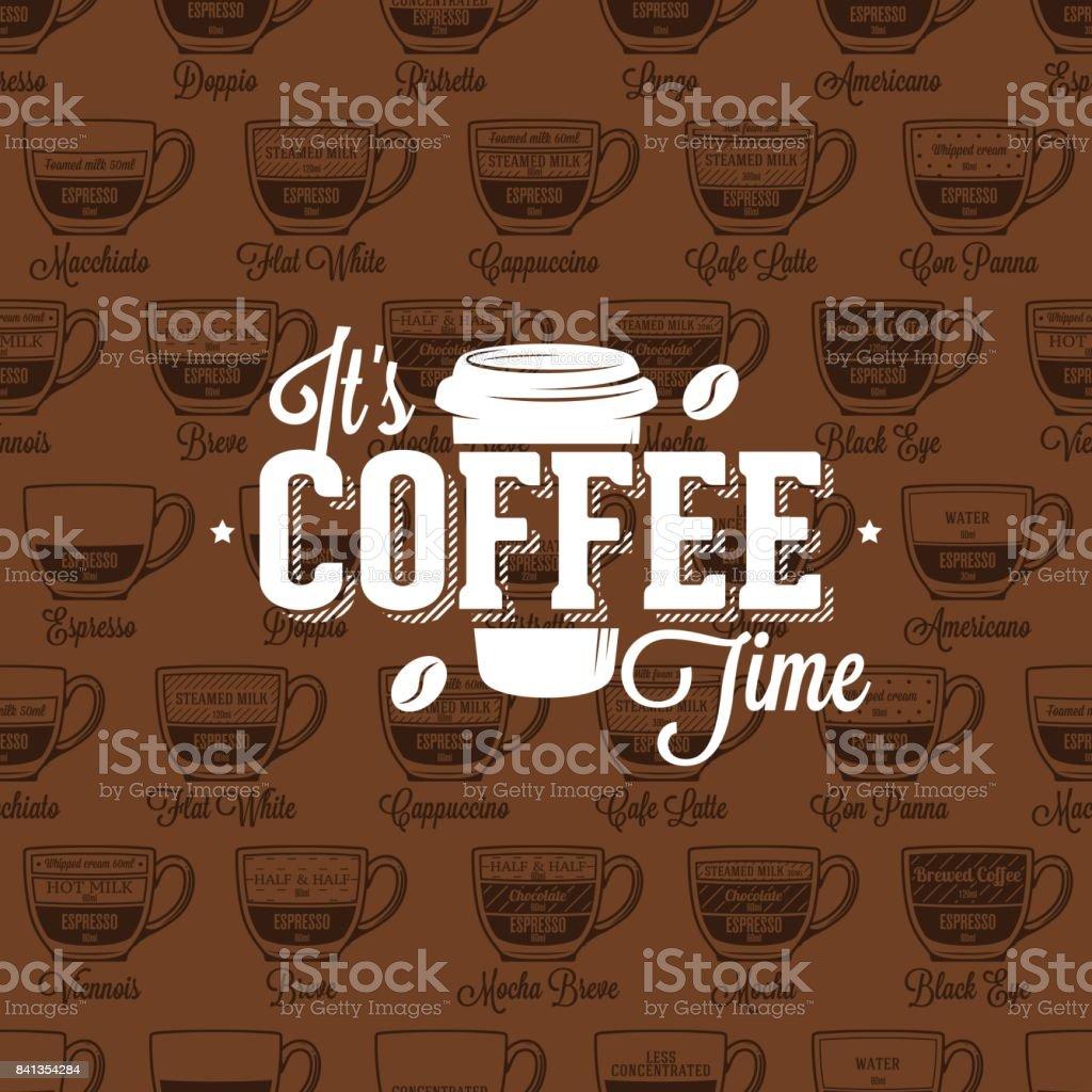 Icono de tiempo café café de patrones sin fisuras de tipo receta, ilustración vectorial - ilustración de arte vectorial