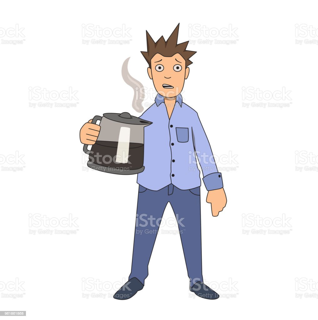 Coffee addiction. Edgy guy clutching onto coffee pot. Vector illustration. Isolated on white background. vector art illustration