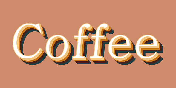Coffee advertising. Coffee shop signboard, poster or advertisement template design and concept. Speech bubble icon and lettering. Vector illustration. stock illustration