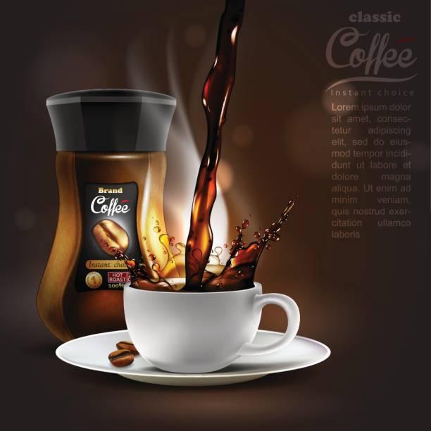 ilustrações de stock, clip art, desenhos animados e ícones de coffee advertising design, high detailed realistic illustration - café solúvel
