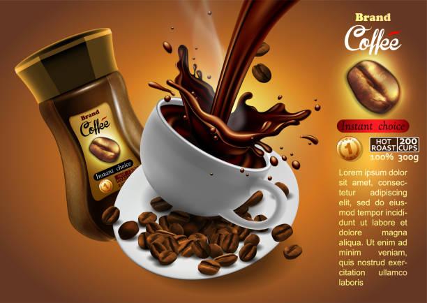 ilustrações de stock, clip art, desenhos animados e ícones de coffee advertising design with cup of coffee and splash effect,  high detailed realistic illustration - café solúvel