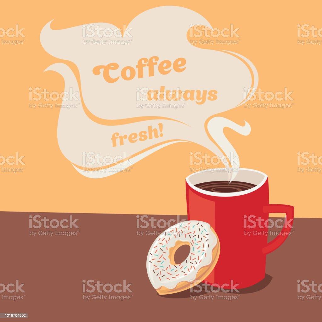 Coffee always fresh! vector art illustration