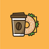 Coffee drink in paper cup with cap and bagel sandwich. Colorful isolated vector icon in flat style with outline for your project