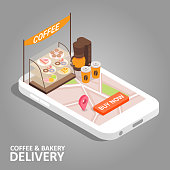 Coffee and bakery online concept. Vector isometric smartphone with food delivery app. Coffee, donut, cake, navigation map with pin marker and buy now button on smart phone screen.