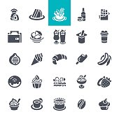 Coffee and bakery shop icons set