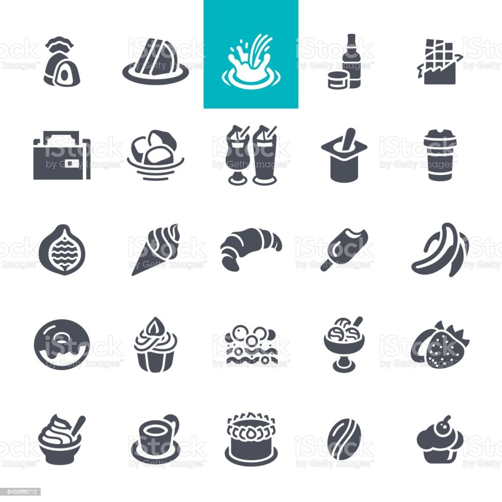 Coffee and bakery shop icons set vector art illustration