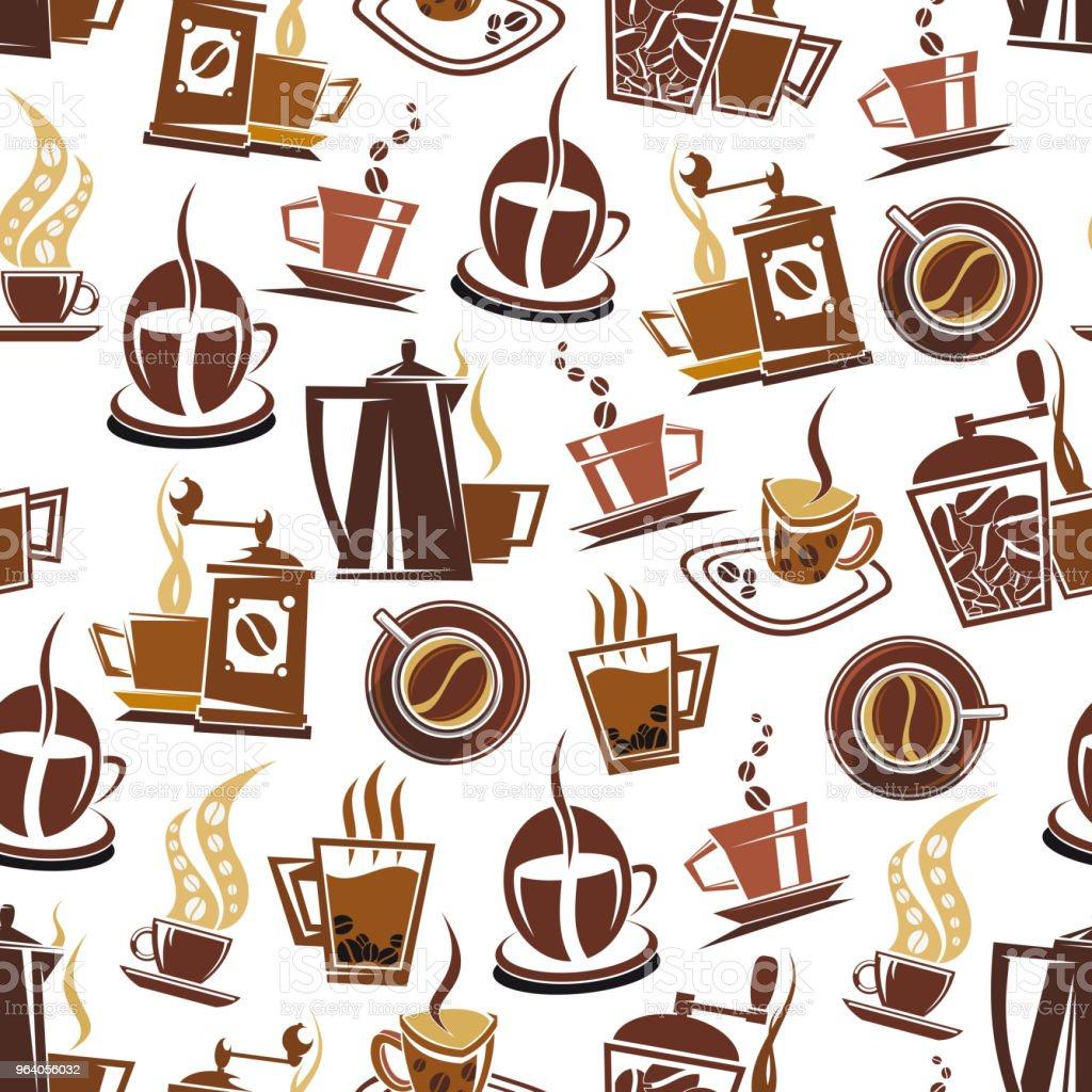 コーヒーと豆のベクトル パターン - アラビアのロイヤリティフリーベクトルアート