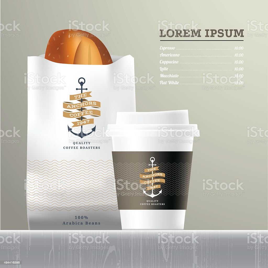 Coffee and bread set menu vector art illustration