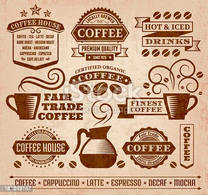 Coffee and Cafe Grunge Icons Collection