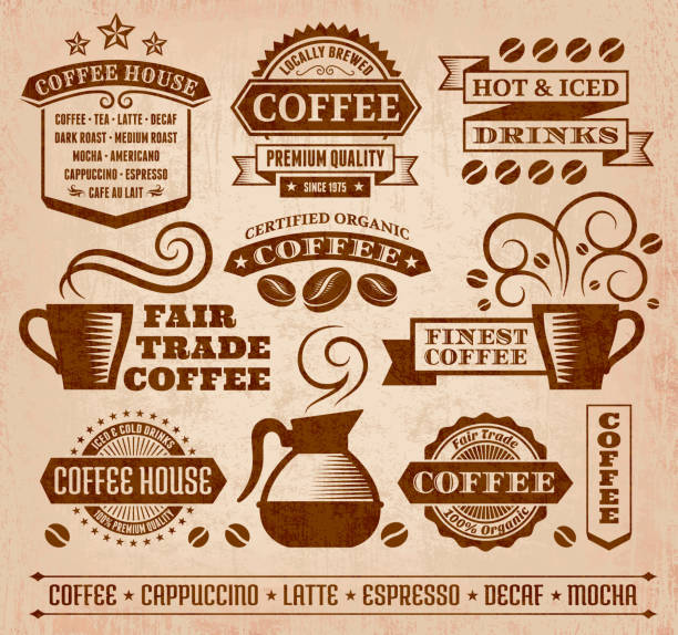 Coffee and Cafe Grunge royalty free vector arts Collection Coffee and Cafe Grunge Icons Collection irish coffee stock illustrations