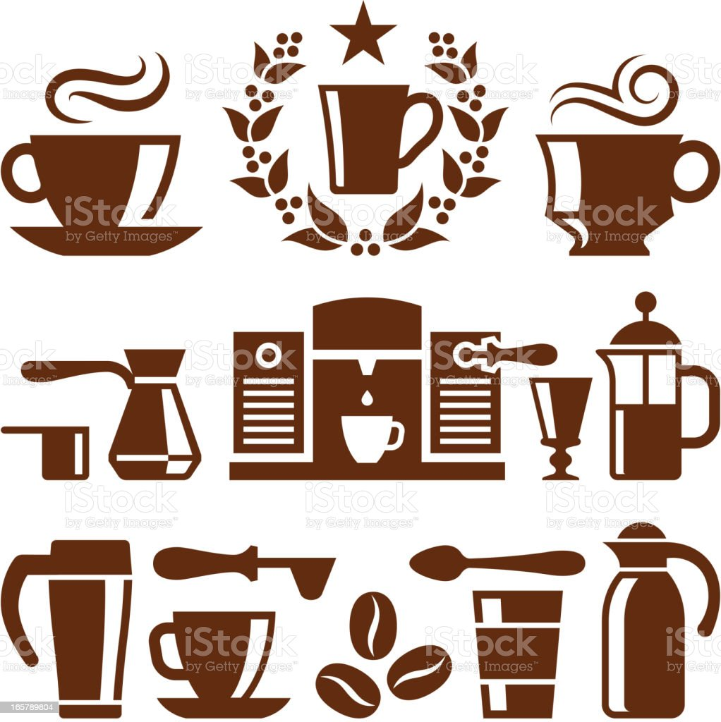 Coffee and Cafe royalty free vector vector icon set royalty-free stock vector art