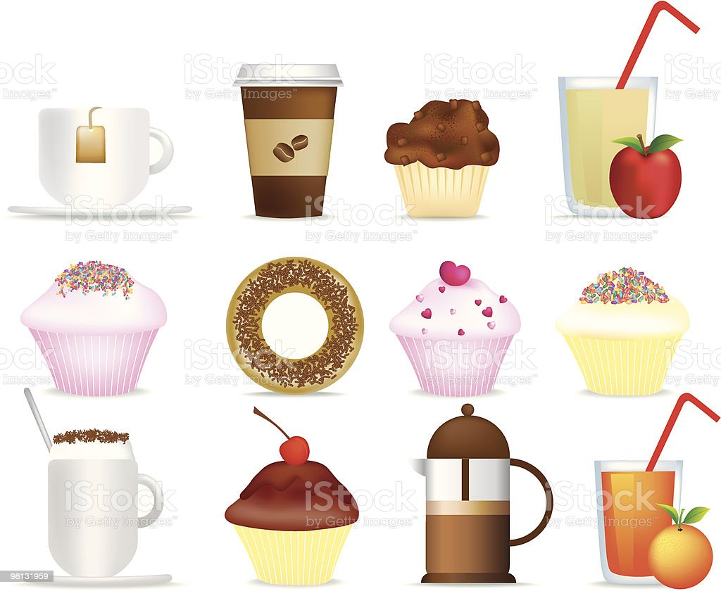 coffee and cake illustration set vector art illustration