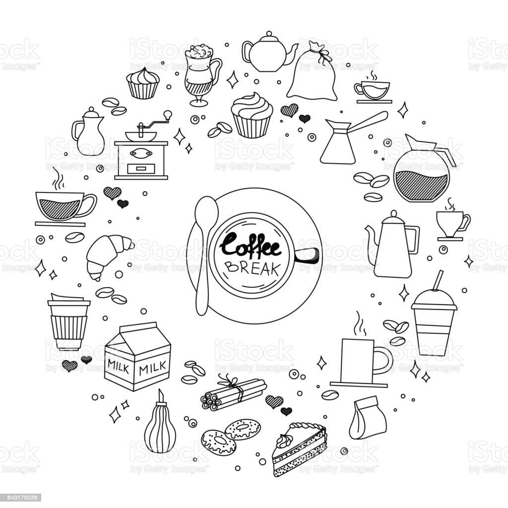Kaffee Und Kuchen Zeit Kritzeleien Hand Gezeichnete Skizzenhaft