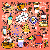 Coffee and Cakes Cute Doodle Illustration with Hand Drawn Colorful Symbols.