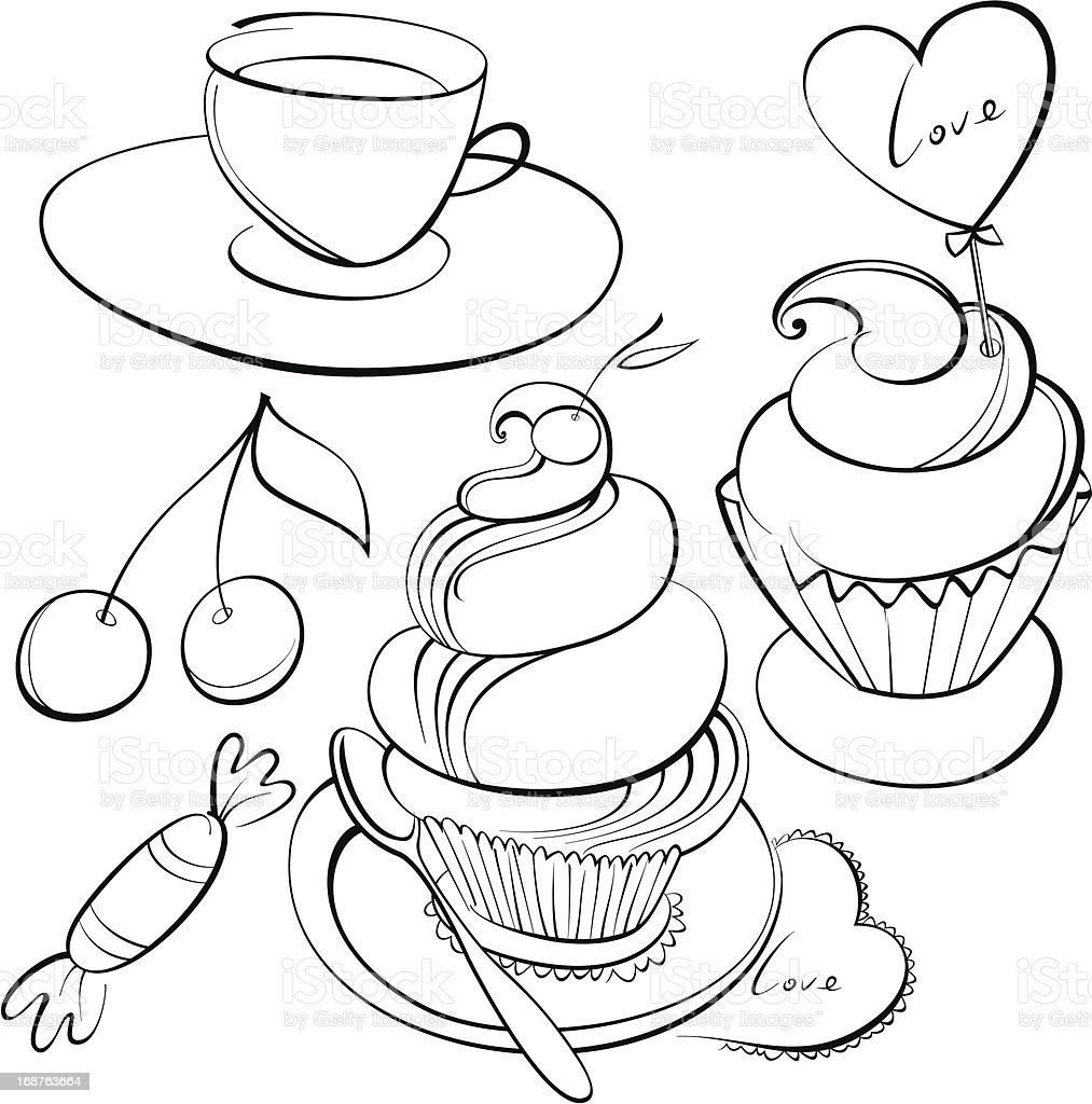 coffee and cakes royalty-free stock vector art