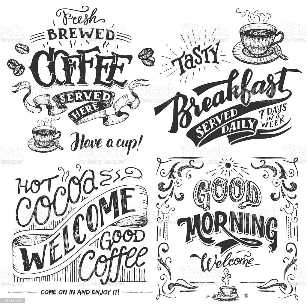Coffee and cocoa for breakfast hand lettering set vector art illustration