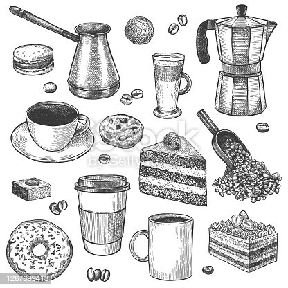 Coffee and desserts. Sketch coffee pot and maker. Cups, cake and cookies, muffins, donut. Pastries, sweet breakfast vintage vector set. Scoop and cezve for making drink, mugs for latte, espresso