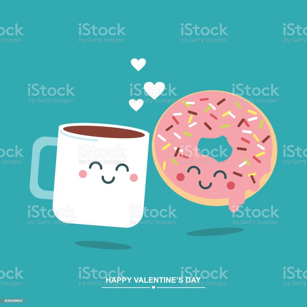 Coffee And Donut Love Cute Valentines Day Illustration Greetings