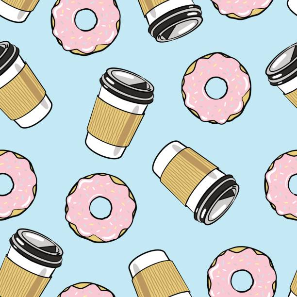 Coffee and Donuts Seamless Vector Pattern Coffee and Donuts Seamless Vector Pattern early 20th century stock illustrations
