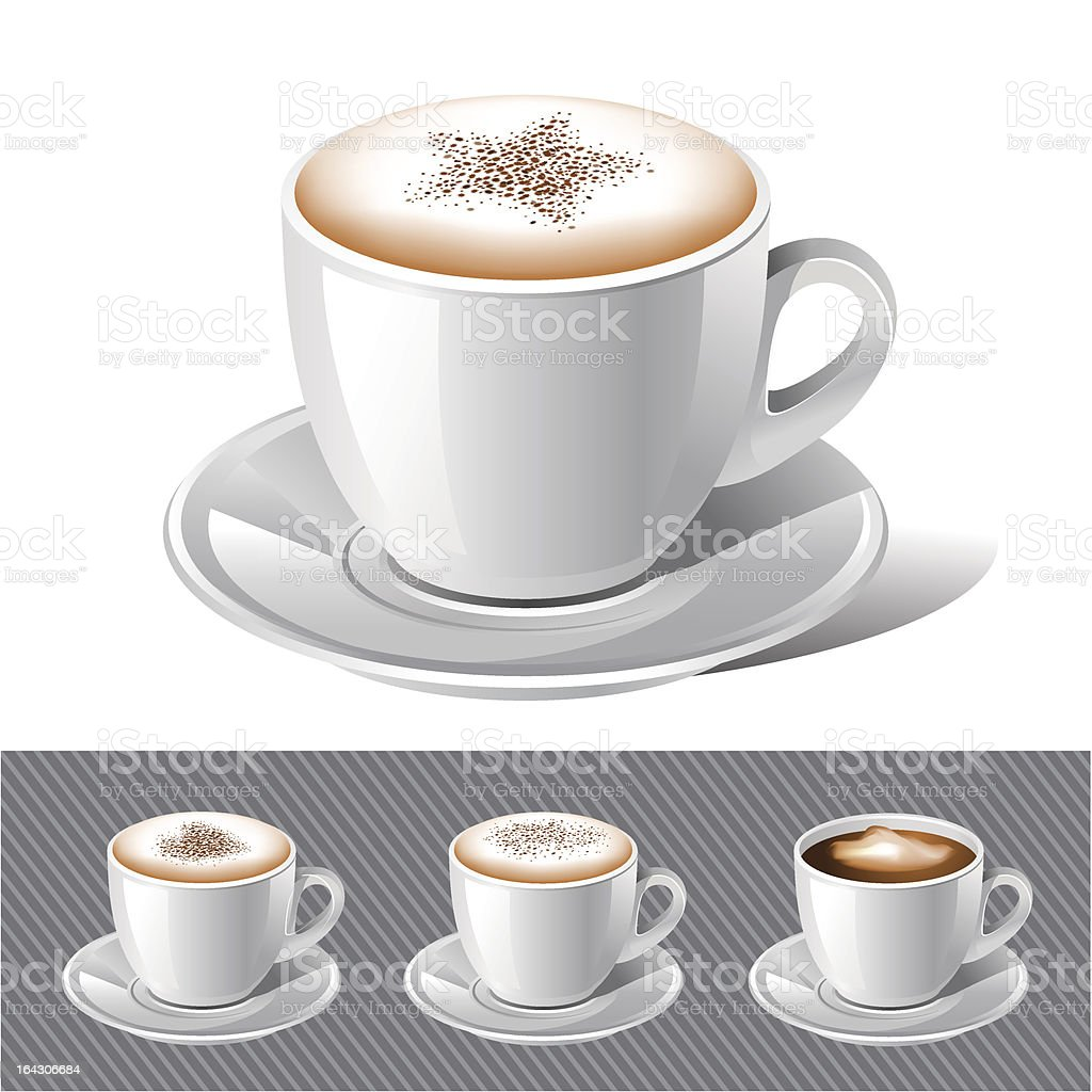 Coffee and espresso images on a grey background royalty-free stock vector art