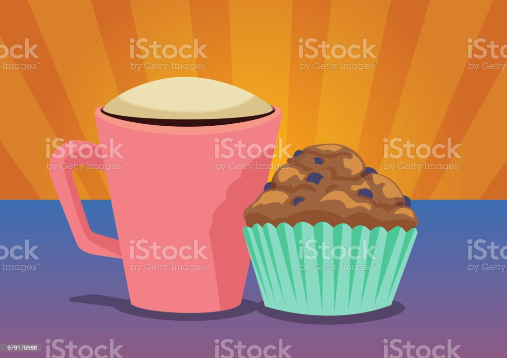 Coffee and Muffin Combo vector art illustration