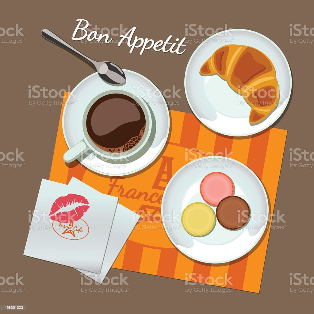 Coffee and snacks set, top view vector art illustration