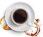 Coffee  with coffee stains isolated on a white background