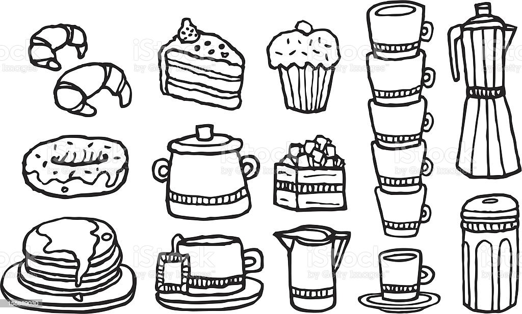 Coffee and sweet food / Handwritten cafe stuff set royalty-free stock vector art