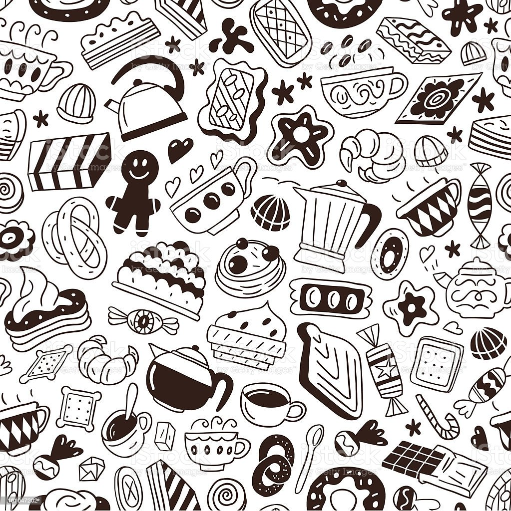 coffee and sweets - seamless pattern royalty-free coffee and sweets seamless pattern stock vector art & more images of baked pastry item