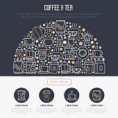 Coffee and tea concept in half circle with thin line icons: take away paper cups, cezve, coffee machine, teapot, cappuccino, cup, tea with lemon, grinder. Modern vector illustration for banner, web page, print media.