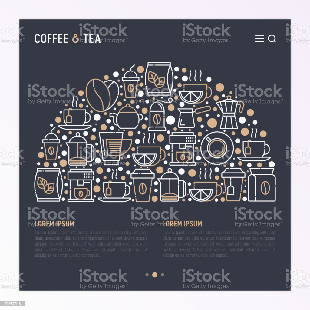 coffee and tea concept in half circle with thin line icons take away