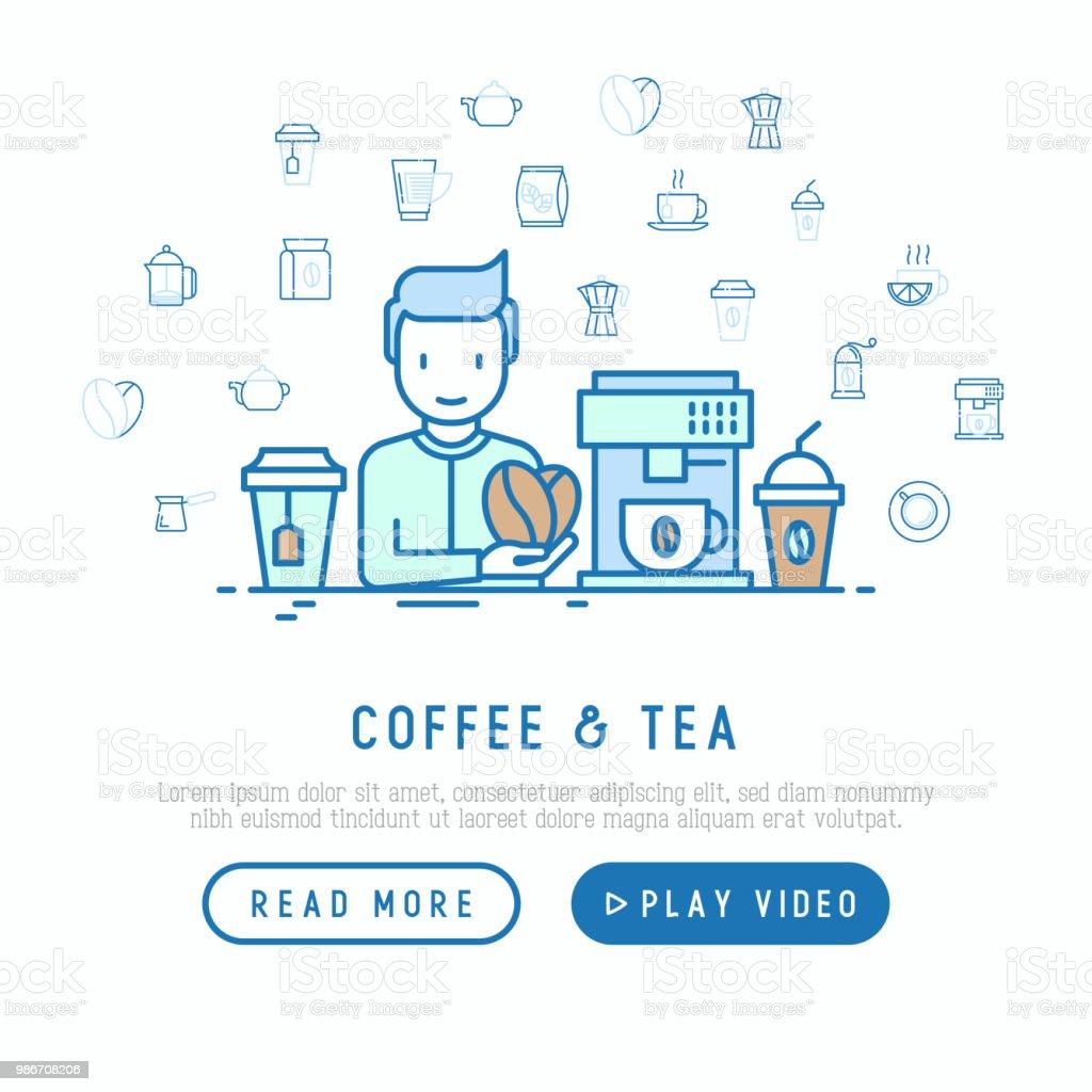 Ilustración de Café Y Té Cocina Concepto Hombre Pone Granos De Café ...