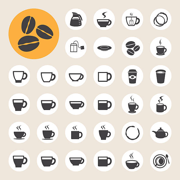 Coffee  and Tea cup icon set. Illustration eps 10 espresso stock illustrations