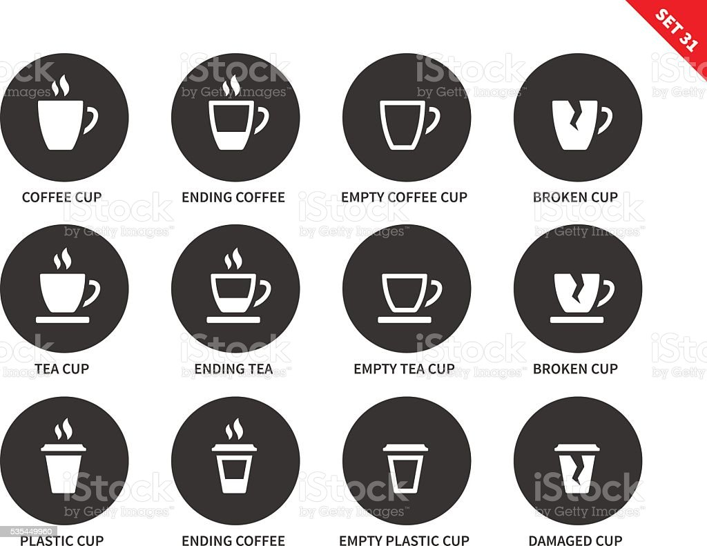 Coffee and tea cups icons on white background vector art illustration