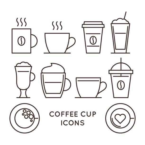 bildbanksillustrationer, clip art samt tecknat material och ikoner med kaffe och te koppar linjär ikoner set - kaffekopp